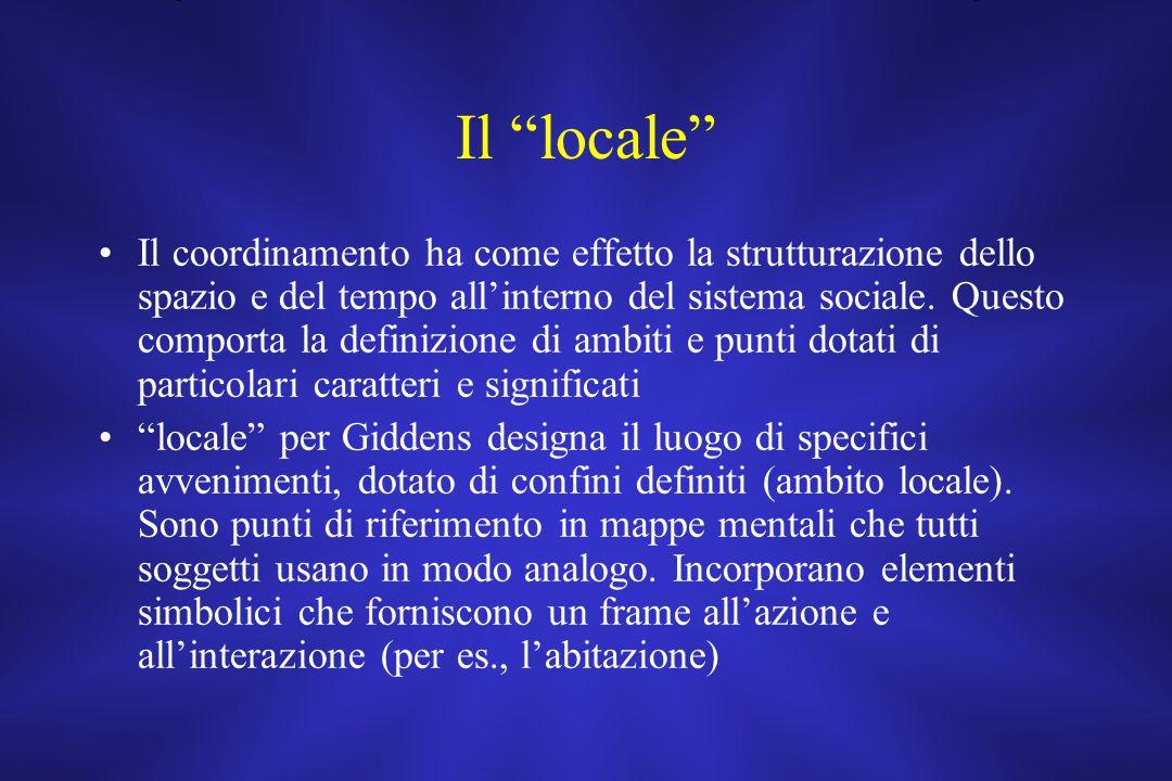 """Il """"locale"""" Il coordinamento ha come effetto la strutturazione dello spazio e del tempo all'interno del sistema sociale. Questo comporta la definizion"""