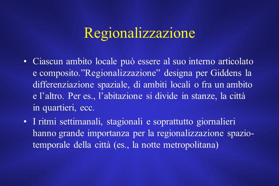 """Regionalizzazione Ciascun ambito locale può essere al suo interno articolato e composito.""""Regionalizzazione"""" designa per Giddens la differenziazione s"""