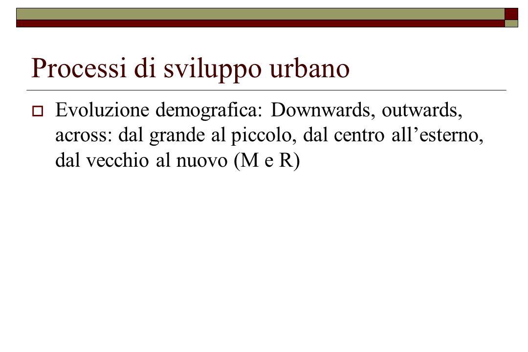 Processi di sviluppo urbano  Evoluzione demografica: Downwards, outwards, across: dal grande al piccolo, dal centro all'esterno, dal vecchio al nuovo