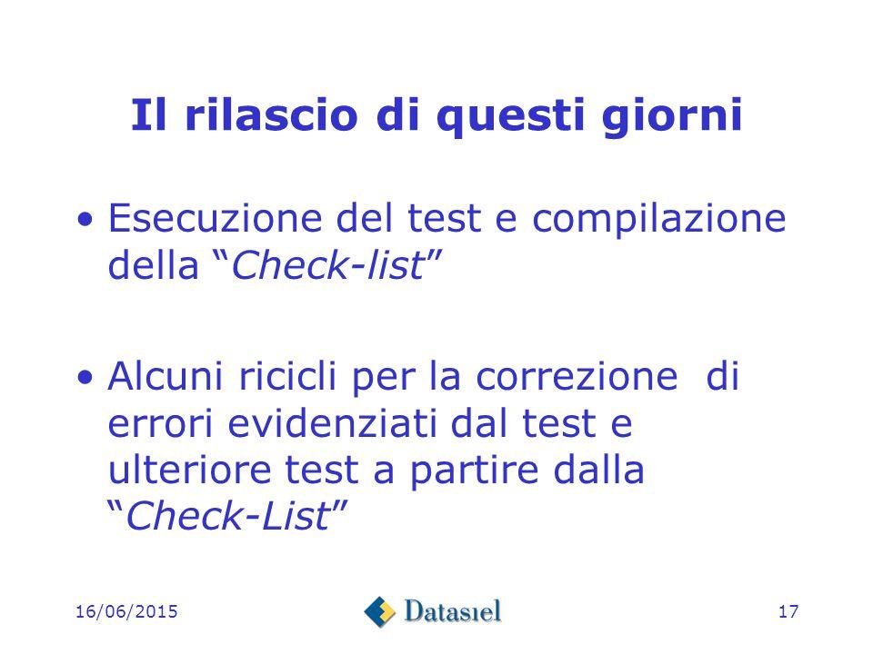 16/06/201516 Il rilascio di questi giorni Stesura di una Check-list dove a ciascuno dei punti della nota tecnica è stato associato uno o più item di test Stesura del codice