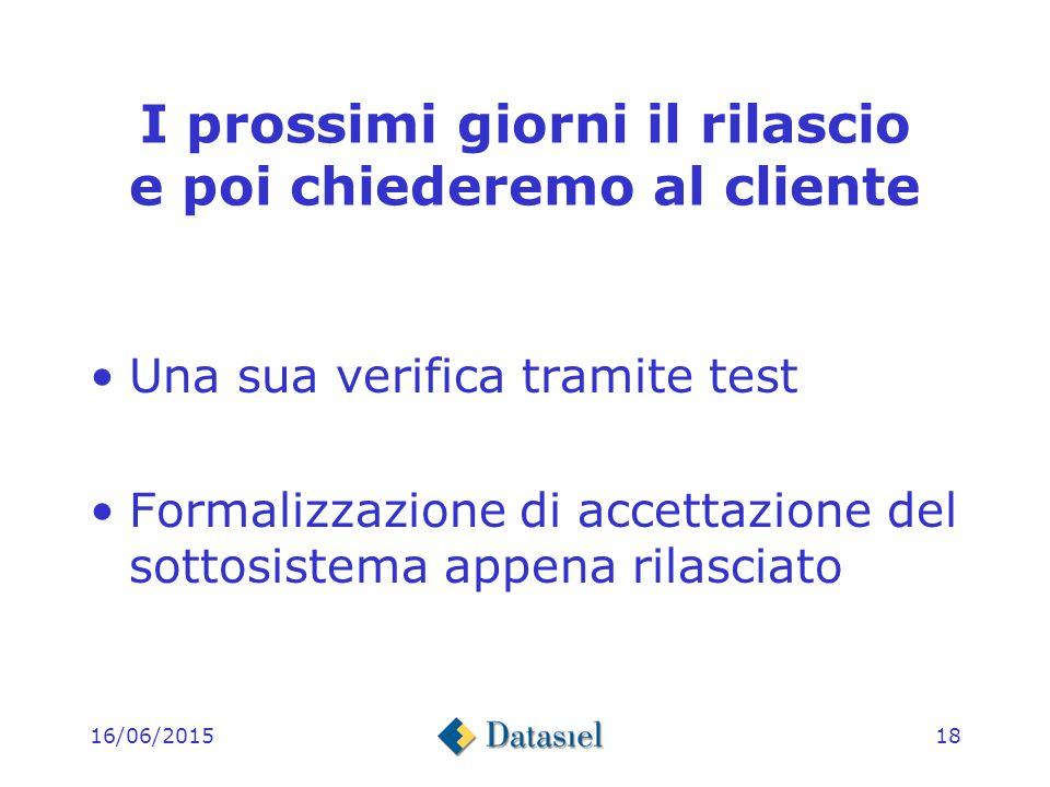 16/06/201517 Il rilascio di questi giorni Esecuzione del test e compilazione della Check-list Alcuni ricicli per la correzione di errori evidenziati dal test e ulteriore test a partire dalla Check-List
