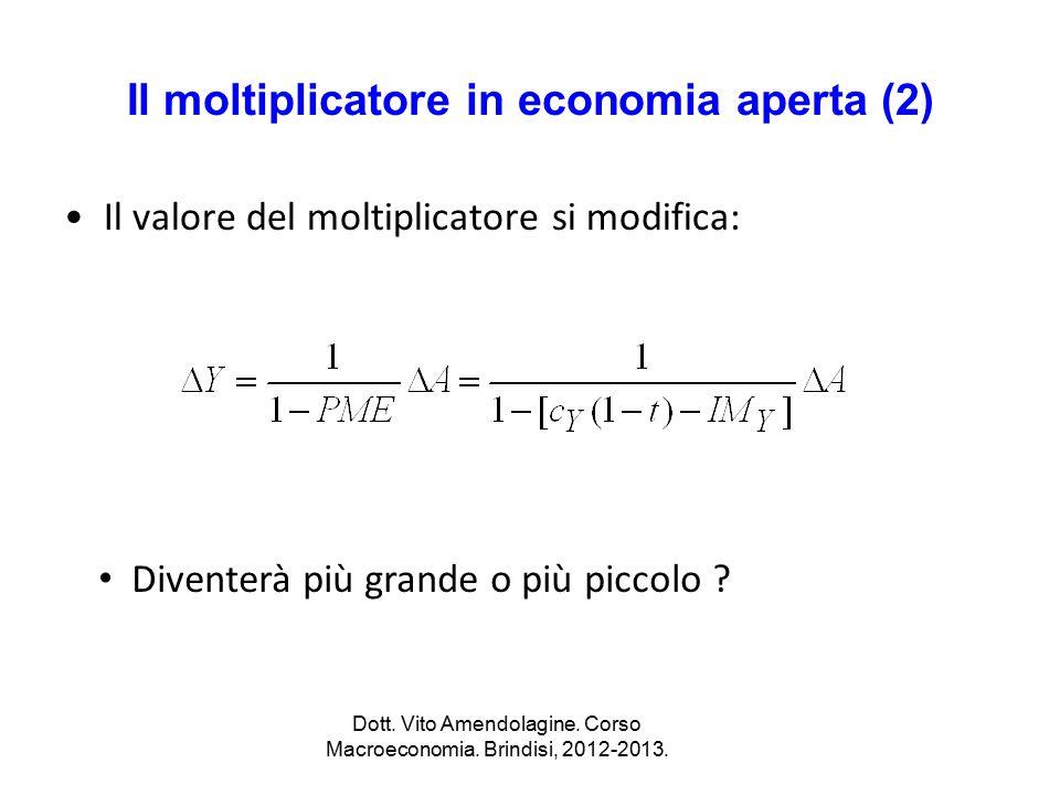 Il moltiplicatore in economia aperta (2) Il valore del moltiplicatore si modifica: Dott. Vito Amendolagine. Corso Macroeconomia. Brindisi, 2012-2013.