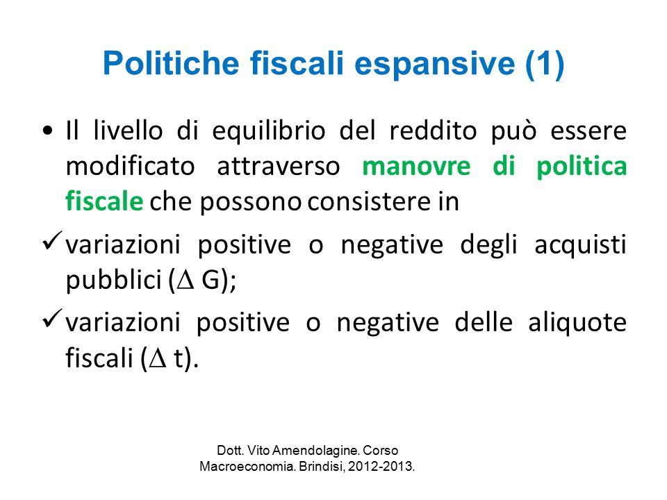 Politiche fiscali espansive (1) Il livello di equilibrio del reddito può essere modificato attraverso manovre di politica fiscale che possono consiste