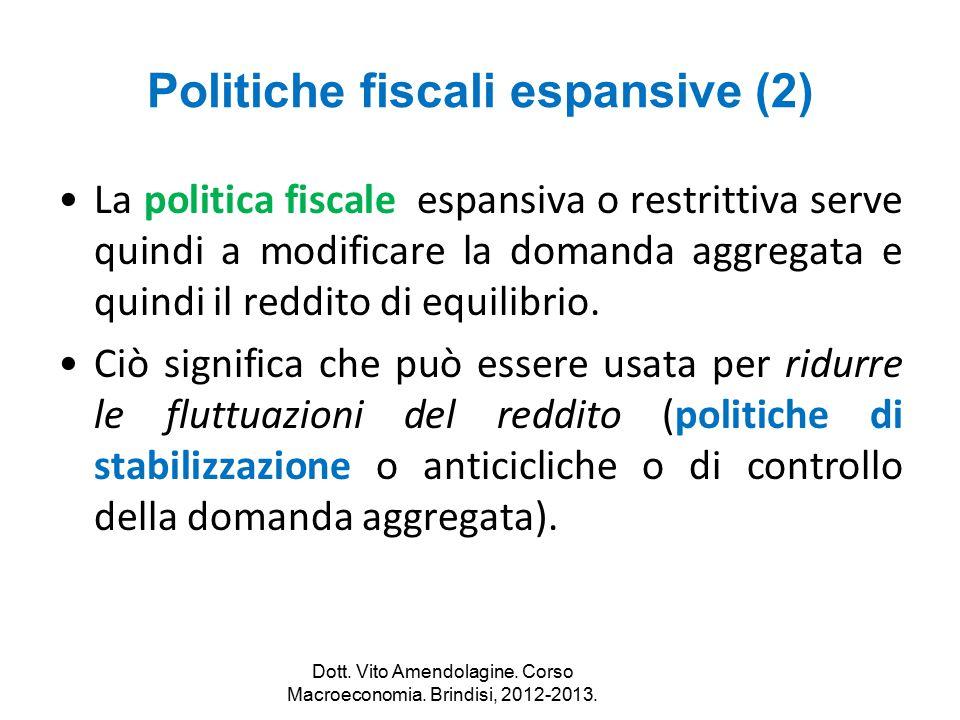 Politiche fiscali espansive (2) La politica fiscale espansiva o restrittiva serve quindi a modificare la domanda aggregata e quindi il reddito di equi
