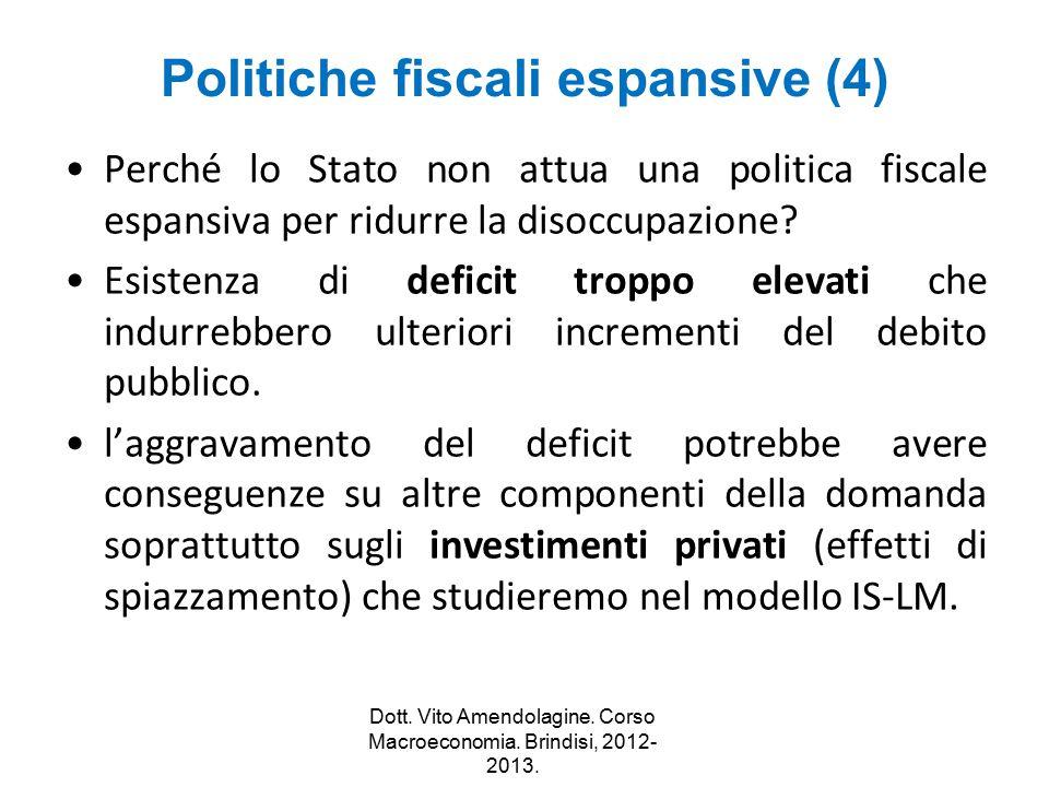 Politiche fiscali espansive (4) Perché lo Stato non attua una politica fiscale espansiva per ridurre la disoccupazione? Esistenza di deficit troppo el