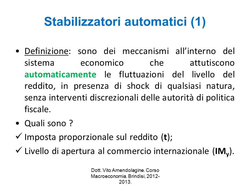 Stabilizzatori automatici (1) Definizione: sono dei meccanismi all'interno del sistema economico che attutiscono automaticamente le fluttuazioni del l
