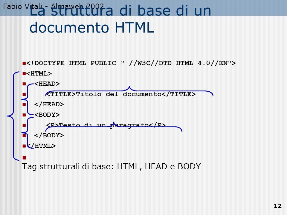 Fabio Vitali - Almaweb 2002 12 La struttura di base di un documento HTML Titolo del documento Testo di un paragrafo Tag strutturali di base: HTML, HEAD e BODY