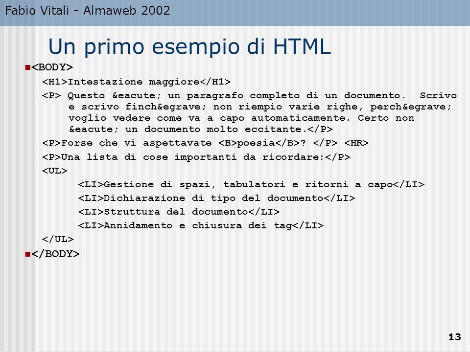Fabio Vitali - Almaweb 2002 13 Un primo esempio di HTML Intestazione maggiore Questo é un paragrafo completo di un documento.