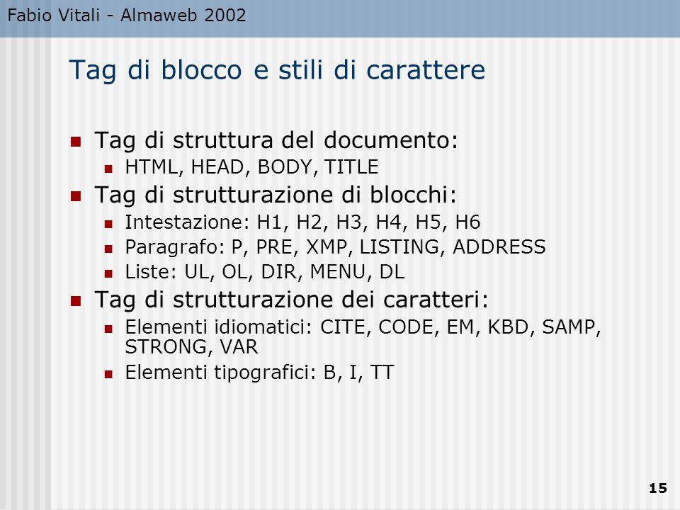 Fabio Vitali - Almaweb 2002 15 Tag di blocco e stili di carattere Tag di struttura del documento: HTML, HEAD, BODY, TITLE Tag di strutturazione di blocchi: Intestazione: H1, H2, H3, H4, H5, H6 Paragrafo: P, PRE, XMP, LISTING, ADDRESS Liste: UL, OL, DIR, MENU, DL Tag di strutturazione dei caratteri: Elementi idiomatici: CITE, CODE, EM, KBD, SAMP, STRONG, VAR Elementi tipografici: B, I, TT