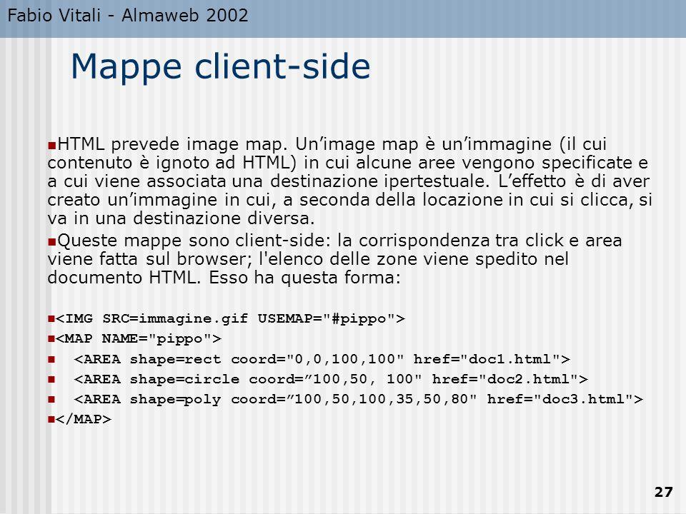 Fabio Vitali - Almaweb 2002 27 Mappe client-side HTML prevede image map.