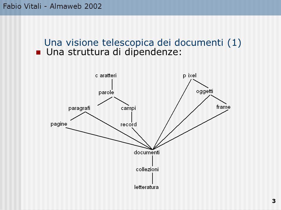 Fabio Vitali - Almaweb 2002 24 Tabelle Le tabelle vengono specificate riga per riga.