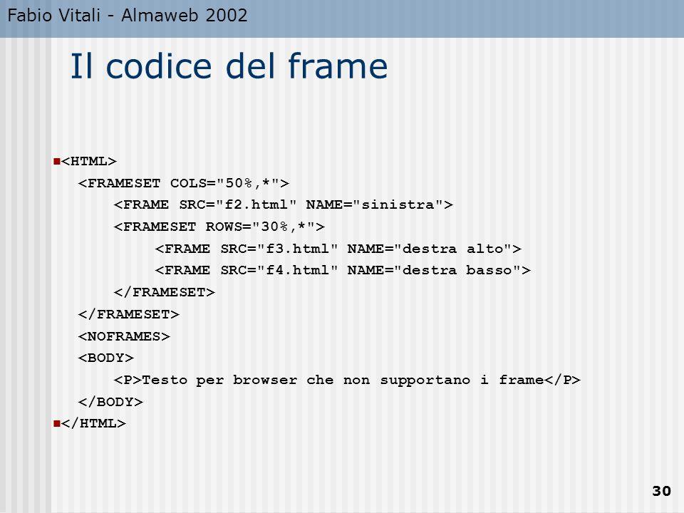 Fabio Vitali - Almaweb 2002 30 Il codice del frame Testo per browser che non supportano i frame