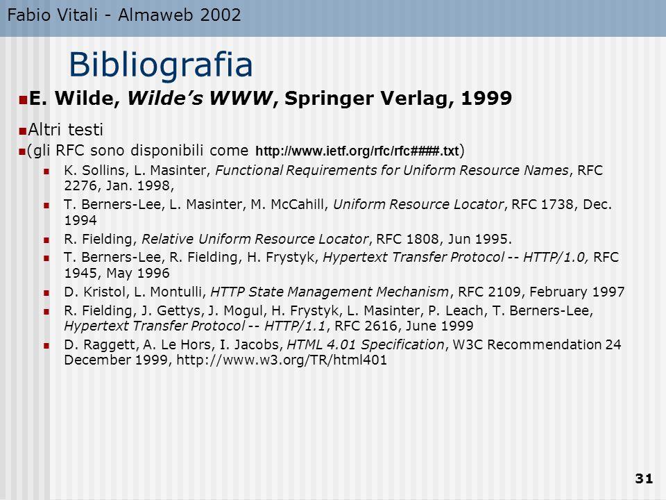 Fabio Vitali - Almaweb 2002 31 Bibliografia E.