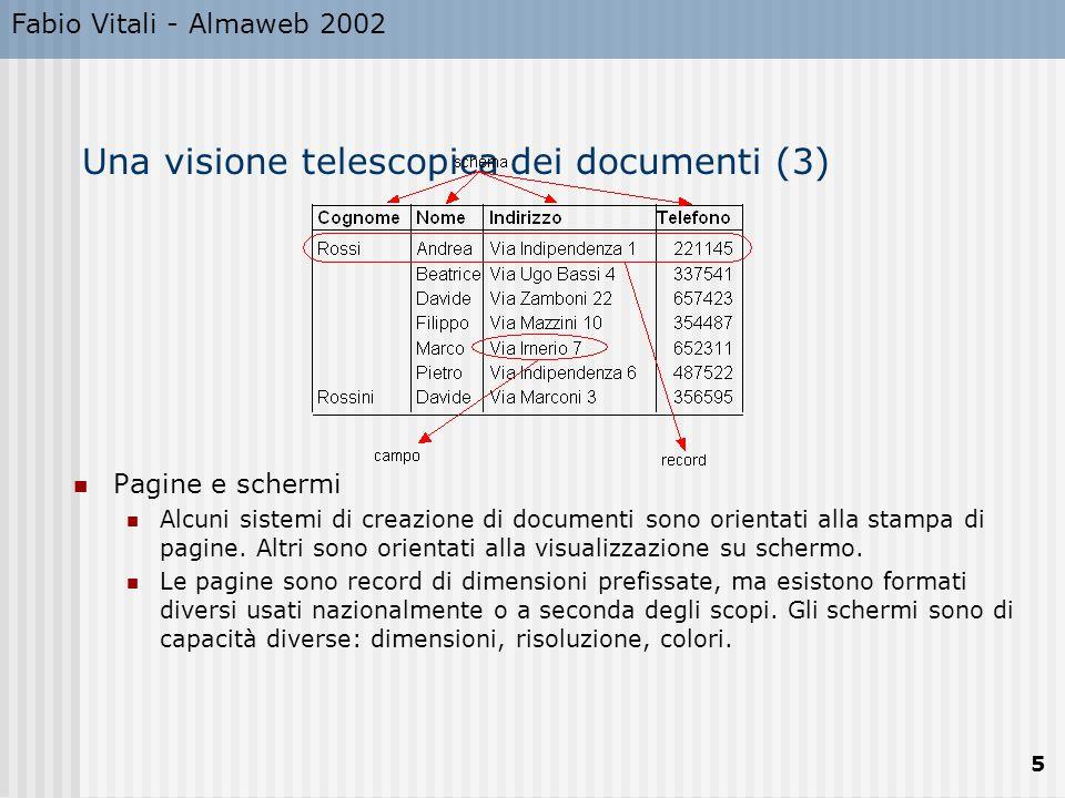 Fabio Vitali - Almaweb 2002 6 Una visione telescopica dei documenti (4) Documenti Un documento è un oggetto complesso composto da più del suo contenuto.