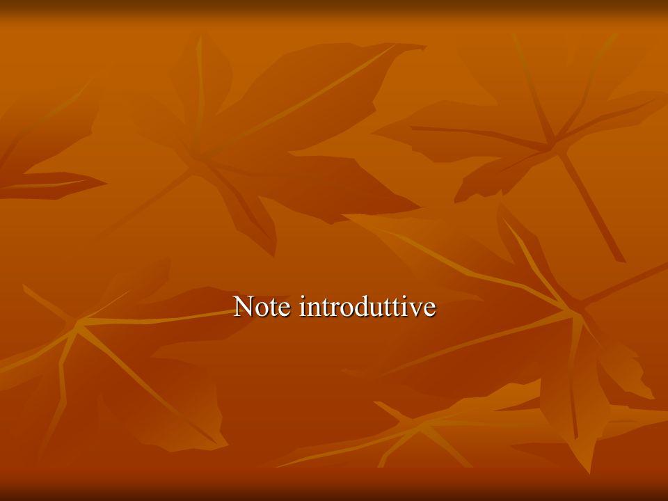 Note introduttive