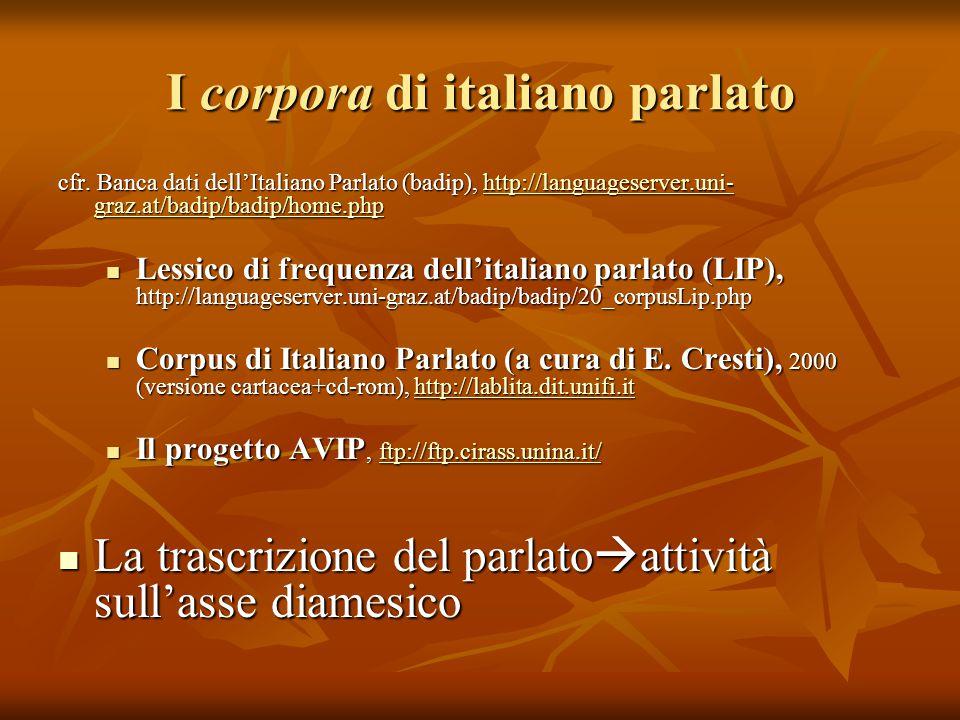 I corpora di italiano parlato cfr. Banca dati dell'Italiano Parlato (badip), http://languageserver.uni- graz.at/badip/badip/home.php http://languagese