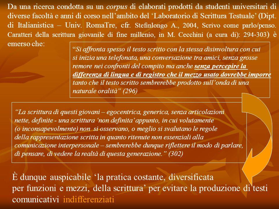 Da una ricerca condotta su un corpus di elaborati prodotti da studenti universitari di diverse facoltà e anni di corso nell'ambito del 'Laboratorio di