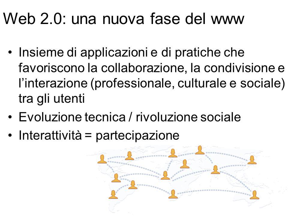 Web 2.0: una nuova fase del www Insieme di applicazioni e di pratiche che favoriscono la collaborazione, la condivisione e l'interazione (professionale, culturale e sociale) tra gli utenti Evoluzione tecnica / rivoluzione sociale Interattività = partecipazione
