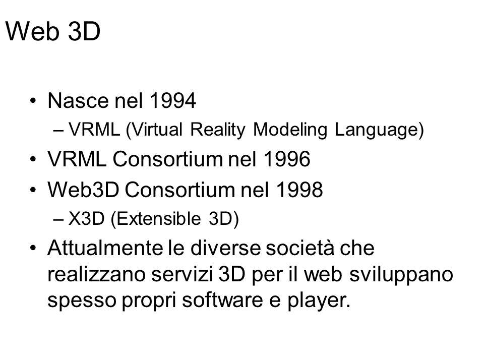 Web 3D Nasce nel 1994 –VRML (Virtual Reality Modeling Language) VRML Consortium nel 1996 Web3D Consortium nel 1998 –X3D (Extensible 3D) Attualmente le diverse società che realizzano servizi 3D per il web sviluppano spesso propri software e player.