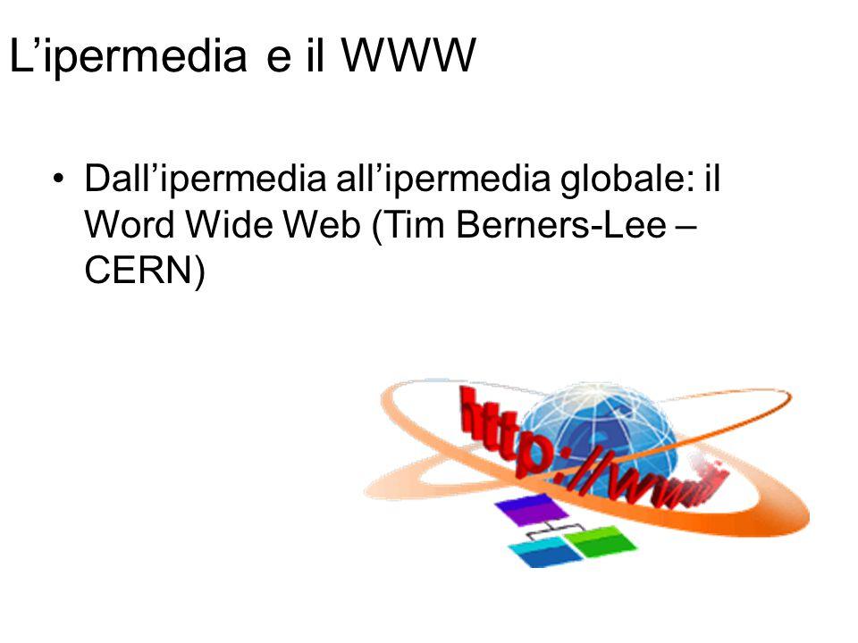 L'ipermedia e il WWW Dall'ipermedia all'ipermedia globale: il Word Wide Web (Tim Berners-Lee – CERN)
