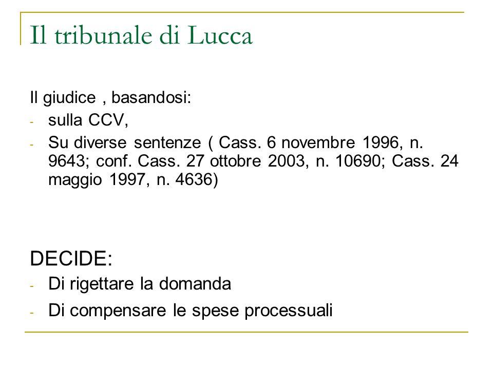 Il tribunale di Lucca Il giudice, basandosi: - sulla CCV, - Su diverse sentenze ( Cass.