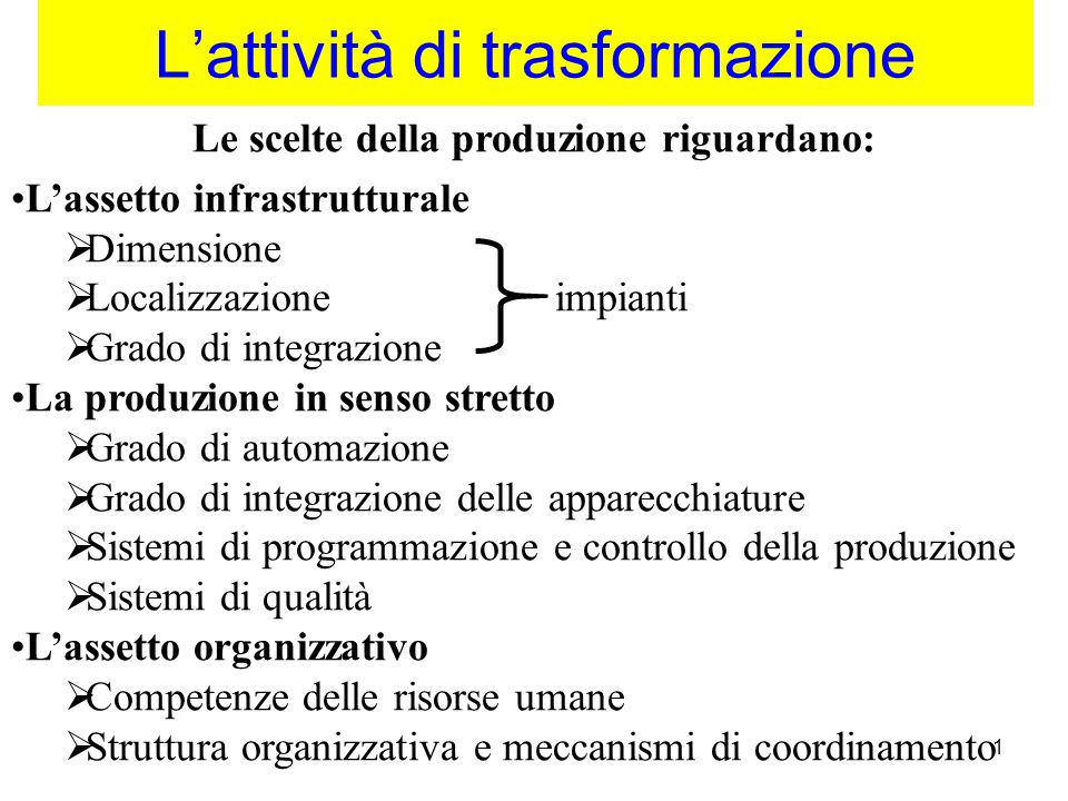 2 I fattori di competitività della produzione 1) Riduzione dei costi della trasformazione –Stand.