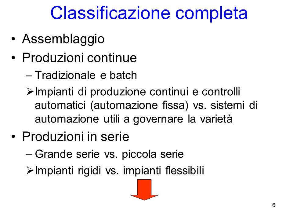 6 Classificazione completa Assemblaggio Produzioni continue –Tradizionale e batch  Impianti di produzione continui e controlli automatici (automazione fissa) vs.