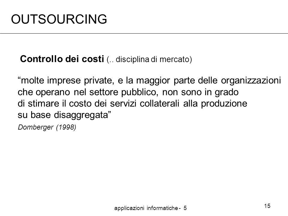 applicazioni informatiche - 5 15 OUTSOURCING molte imprese private, e la maggior parte delle organizzazioni che operano nel settore pubblico, non sono in grado di stimare il costo dei servizi collaterali alla produzione su base disaggregata Domberger (1998) Controllo dei costi (..
