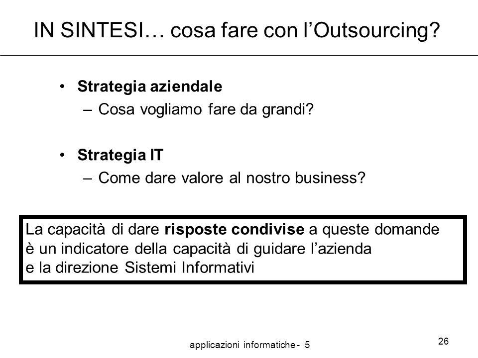 applicazioni informatiche - 5 26 IN SINTESI… cosa fare con l'Outsourcing.