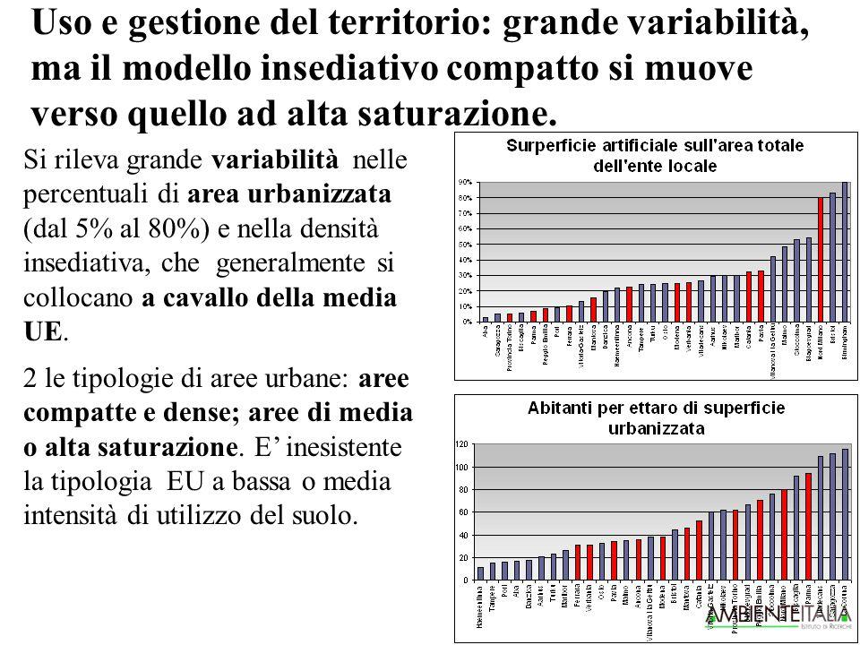 Uso e gestione del territorio: grande variabilità, ma il modello insediativo compatto si muove verso quello ad alta saturazione.