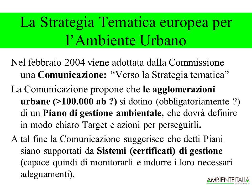 Nel febbraio 2004 viene adottata dalla Commissione una Comunicazione: Verso la Strategia tematica La Comunicazione propone che l e agglomerazioni urbane (>100.000 ab ) si dotino (obbligatoriamente ) di un Piano di gestione ambientale, che dovrà definire in modo chiaro Target e azioni per perseguirli.
