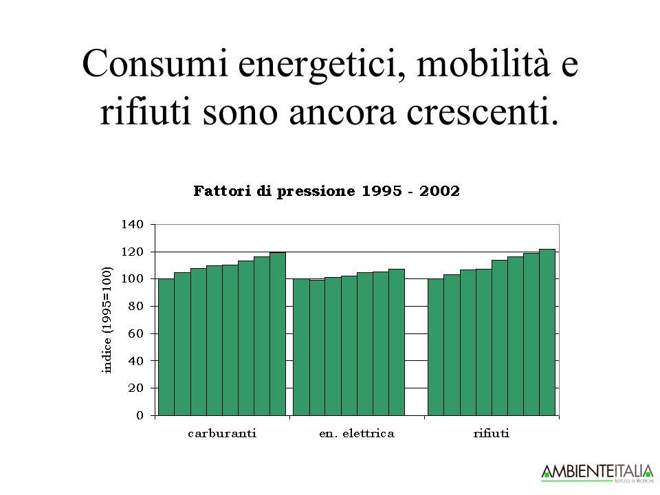 Consumi energetici, mobilità e rifiuti sono ancora crescenti.