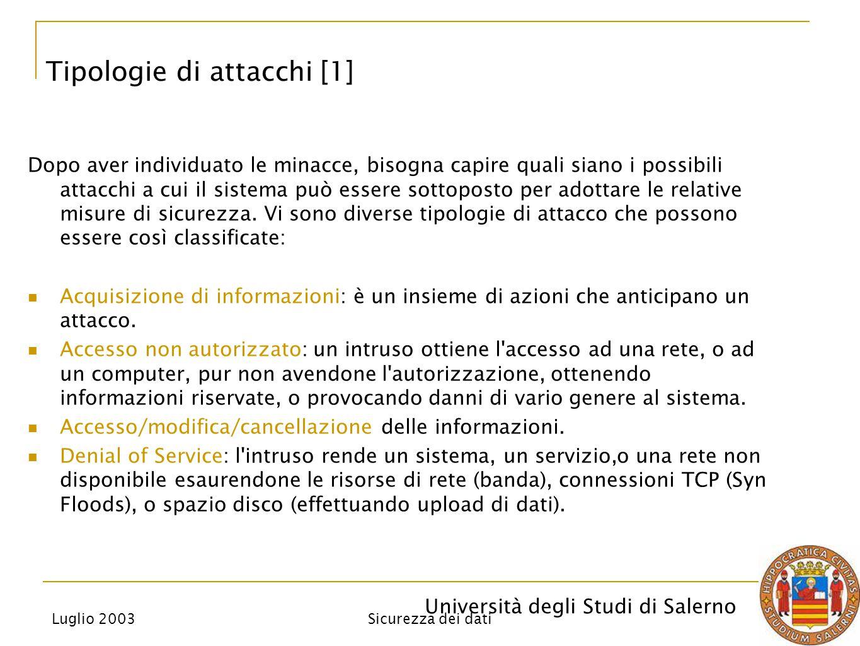 Università degli Studi di Salerno Luglio 2003 Sicurezza dei dati Dopo aver individuato le minacce, bisogna capire quali siano i possibili attacchi a cui il sistema può essere sottoposto per adottare le relative misure di sicurezza.