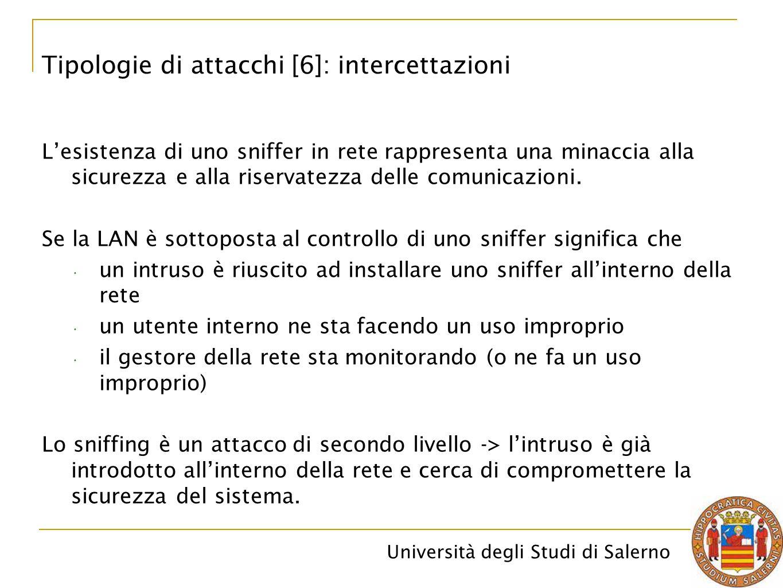 Università degli Studi di Salerno L'esistenza di uno sniffer in rete rappresenta una minaccia alla sicurezza e alla riservatezza delle comunicazioni.