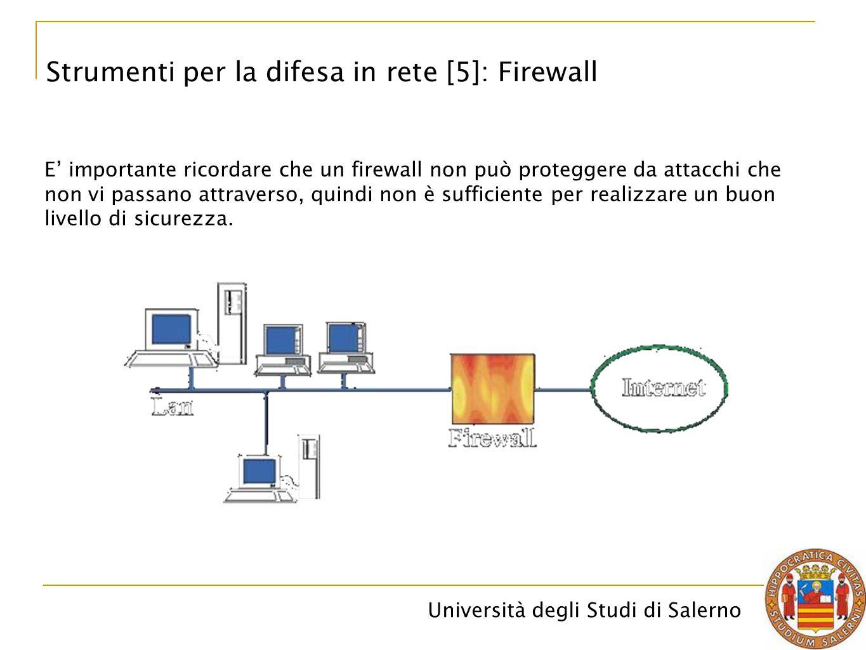 Università degli Studi di Salerno E' importante ricordare che un firewall non può proteggere da attacchi che non vi passano attraverso, quindi non è sufficiente per realizzare un buon livello di sicurezza.
