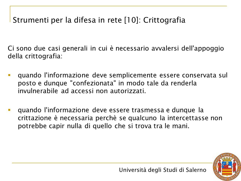 Università degli Studi di Salerno Ci sono due casi generali in cui è necessario avvalersi dell appoggio della crittografia:  quando l informazione deve semplicemente essere conservata sul posto e dunque confezionata in modo tale da renderla invulnerabile ad accessi non autorizzati.