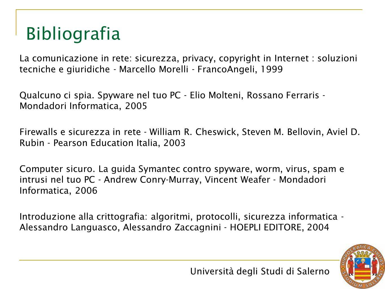 Università degli Studi di Salerno Bibliografia La comunicazione in rete: sicurezza, privacy, copyright in Internet : soluzioni tecniche e giuridiche - Marcello Morelli - FrancoAngeli, 1999 Qualcuno ci spia.
