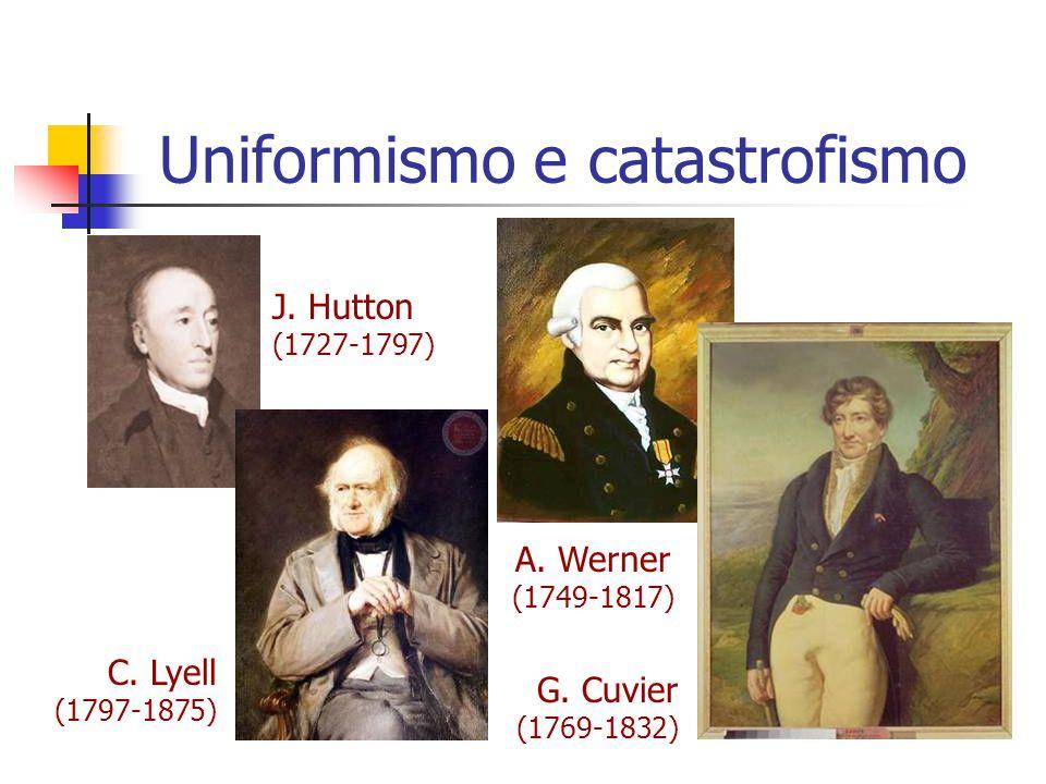 Uniformismo e catastrofismo J. Hutton (1727-1797) C. Lyell (1797-1875) A. Werner (1749-1817) G. Cuvier (1769-1832)