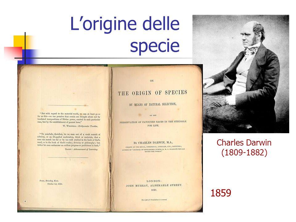 L'origine delle specie Charles Darwin (1809-1882) 1859