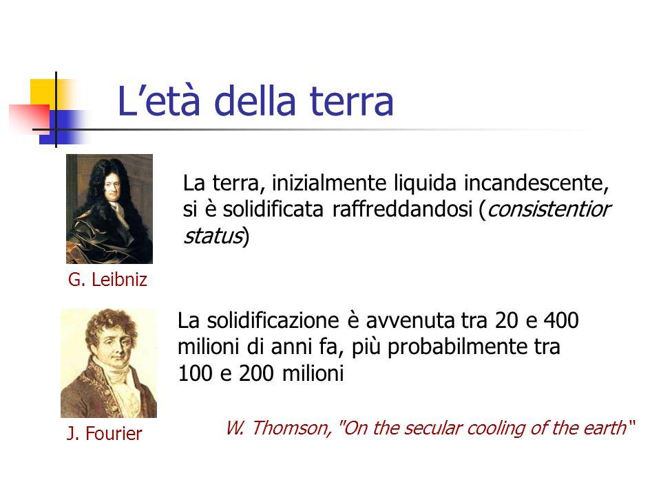 L'età della terra G. Leibniz J. Fourier La terra, inizialmente liquida incandescente, si è solidificata raffreddandosi (consistentior status) La solid