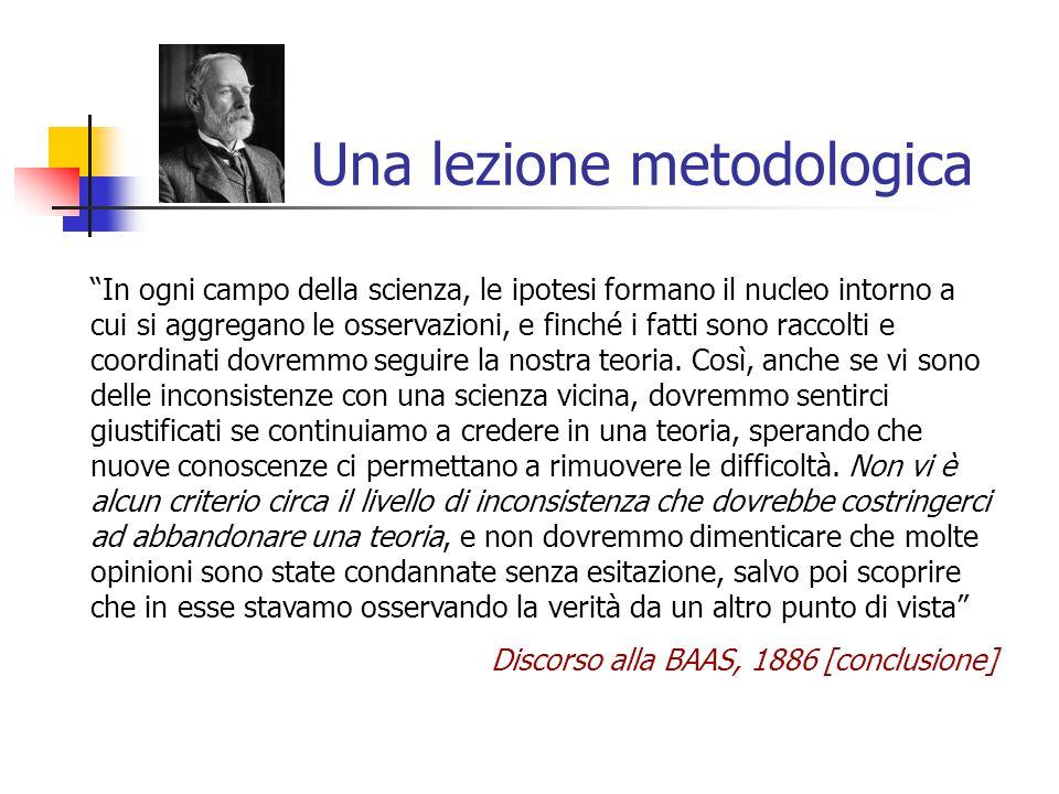 """Una lezione metodologica """"In ogni campo della scienza, le ipotesi formano il nucleo intorno a cui si aggregano le osservazioni, e finché i fatti sono"""