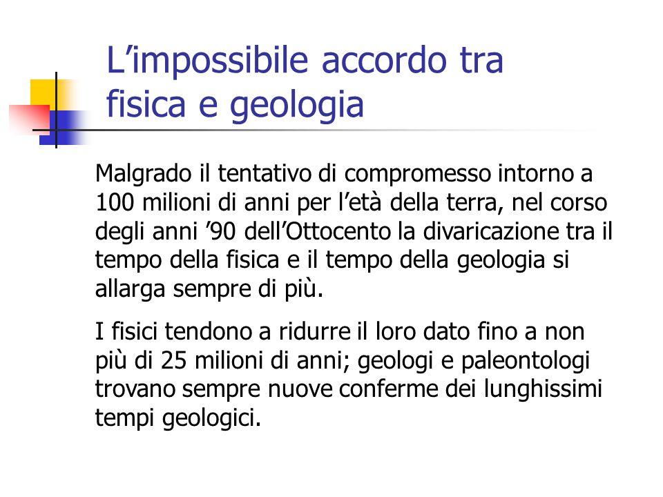 L'impossibile accordo tra fisica e geologia Malgrado il tentativo di compromesso intorno a 100 milioni di anni per l'età della terra, nel corso degli