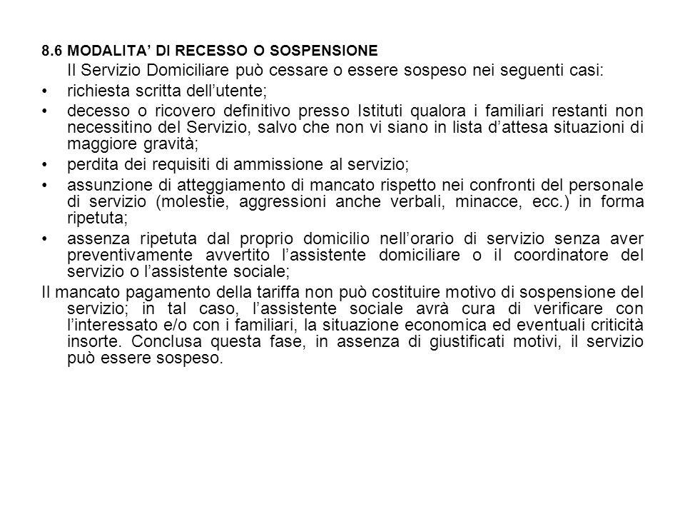 8.6 MODALITA' DI RECESSO O SOSPENSIONE Il Servizio Domiciliare può cessare o essere sospeso nei seguenti casi: richiesta scritta dell'utente; decesso