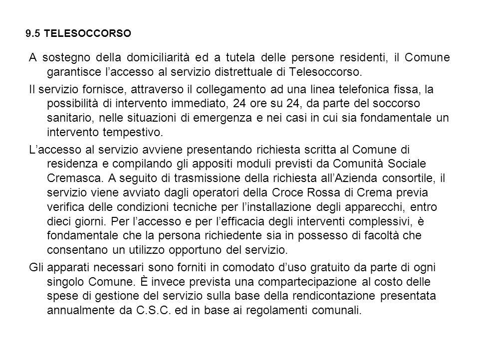9.5 TELESOCCORSO A sostegno della domiciliarità ed a tutela delle persone residenti, il Comune garantisce l'accesso al servizio distrettuale di Telesoccorso.