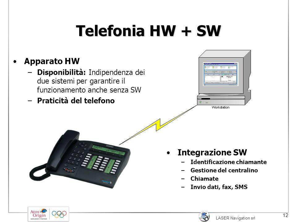 LASER Navigation srl 12 Telefonia HW + SW Apparato HW –Disponibilità: Indipendenza dei due sistemi per garantire il funzionamento anche senza SW –Prat