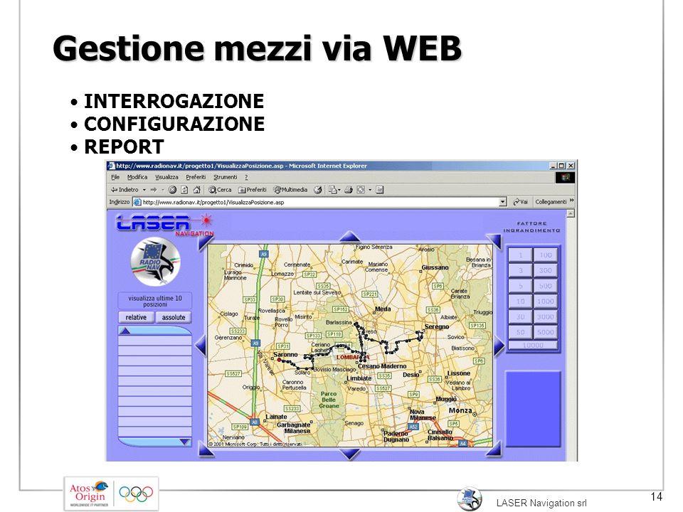 LASER Navigation srl 14 Gestione mezzi via WEB INTERROGAZIONE CONFIGURAZIONE REPORT