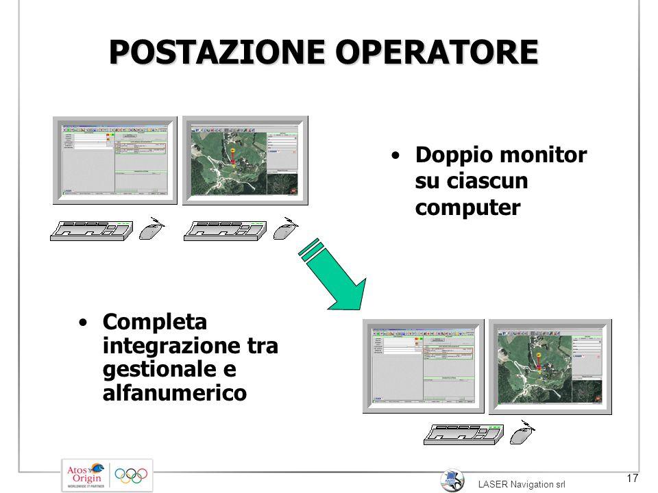 LASER Navigation srl 17 POSTAZIONE OPERATORE Completa integrazione tra gestionale e alfanumerico Doppio monitor su ciascun computer