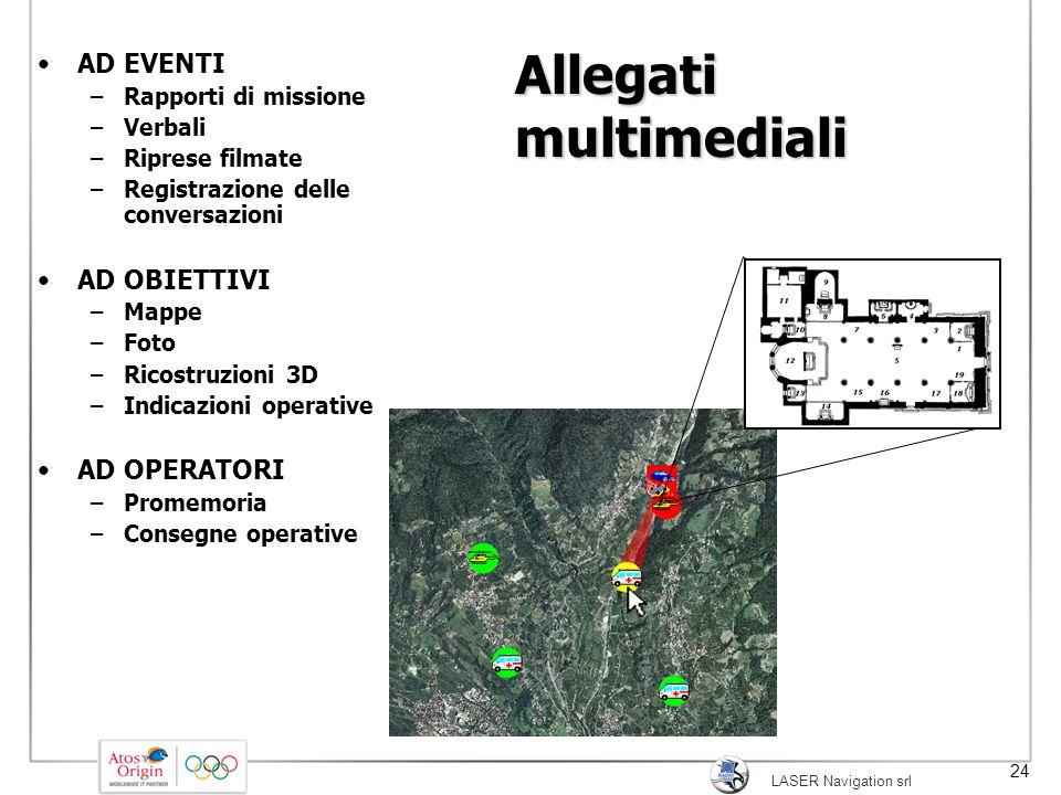 LASER Navigation srl 24 Allegati multimediali AD EVENTI –Rapporti di missione –Verbali –Riprese filmate –Registrazione delle conversazioni AD OBIETTIV