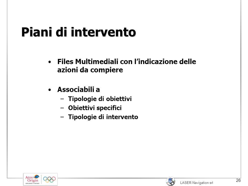 LASER Navigation srl 26 Piani di intervento Files Multimediali con l'indicazione delle azioni da compiere Associabili a –Tipologie di obiettivi –Obiet