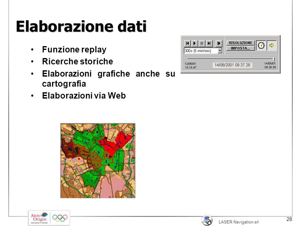LASER Navigation srl 28 Elaborazione dati Funzione replay Ricerche storiche Elaborazioni grafiche anche su cartografia Elaborazioni via Web